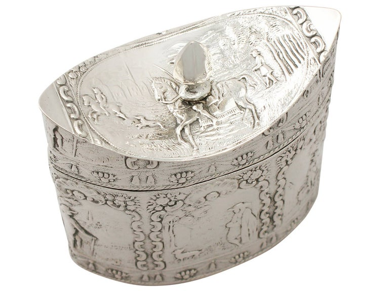 Late 19th Century 1880s Antique Dutch Silver Tea Caddy For Sale