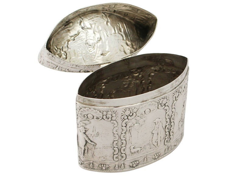 1880s Antique Dutch Silver Tea Caddy For Sale 2