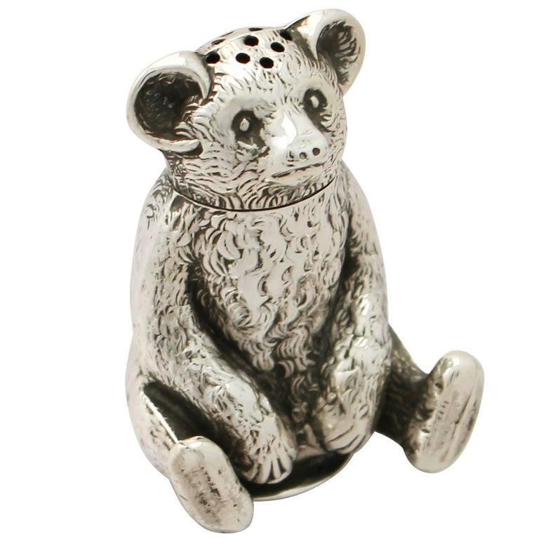 Edwardian English Sterling Silver 'Bear' Pepperette For Sale