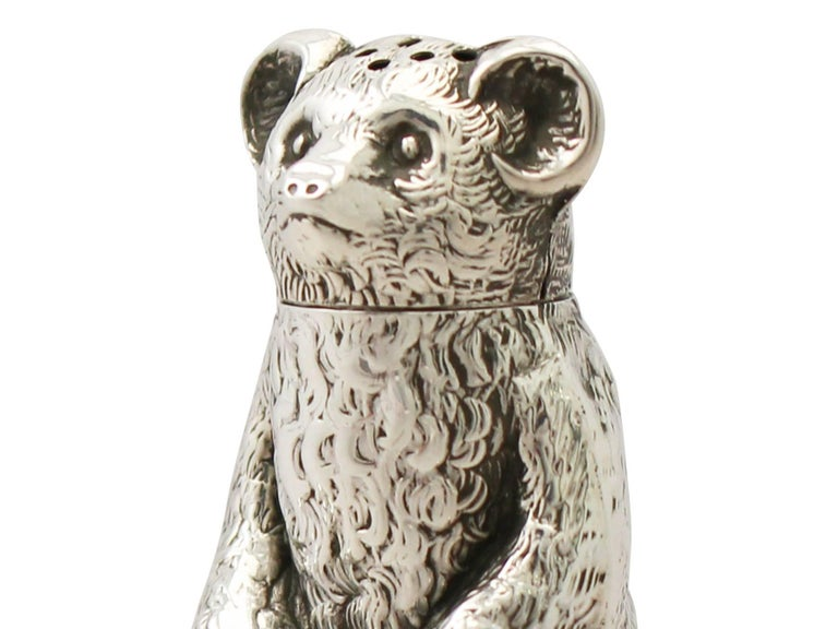 Edwardian English Sterling Silver 'Bear' Pepperette For Sale 2