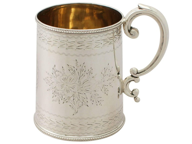 Antique Victorian English Sterling Silver Christening Mug In Excellent Condition For Sale In Jesmond, Newcastle Upon Tyne