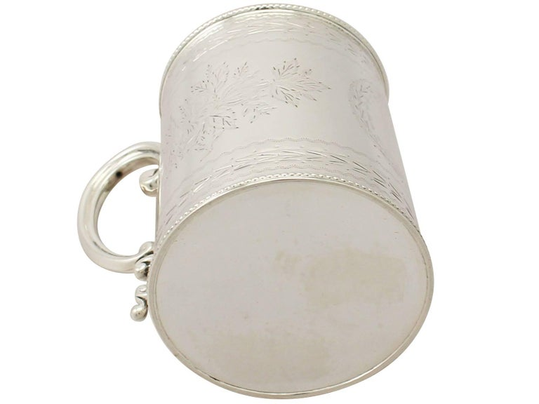 Antique Victorian English Sterling Silver Christening Mug For Sale 3