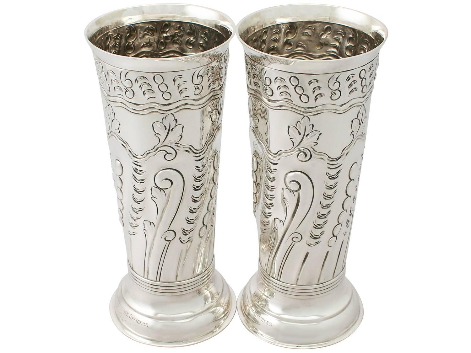 pair of sterling silver vases centerpieces antique
