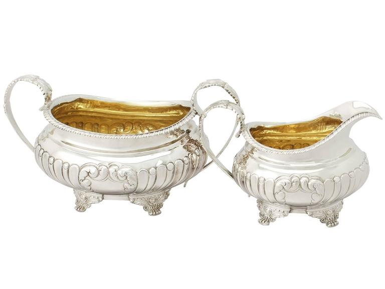 1825 Antique Regency Style Sterling Silver Three Piece Tea Service For Sale 4