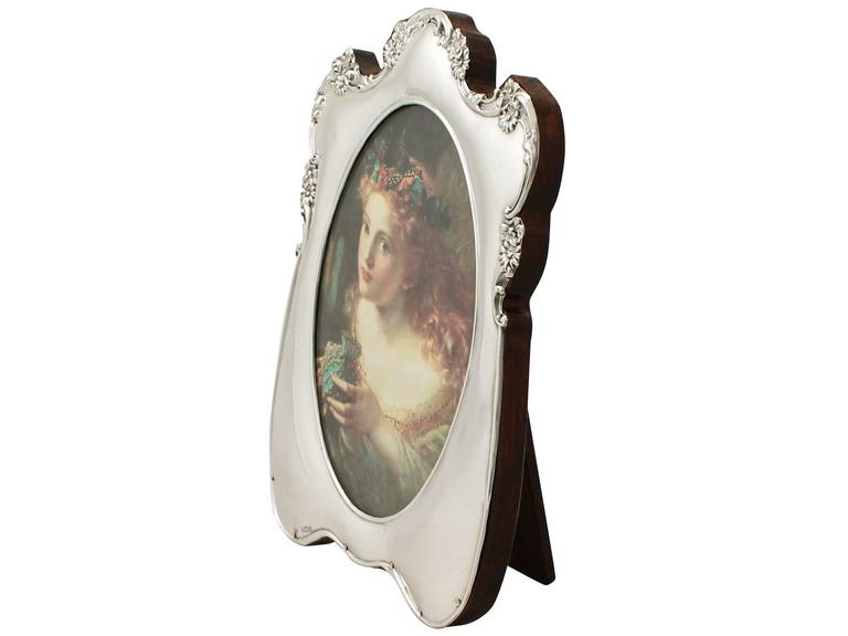 English Antique Edwardian Sterling Silver Photograph Frame For Sale