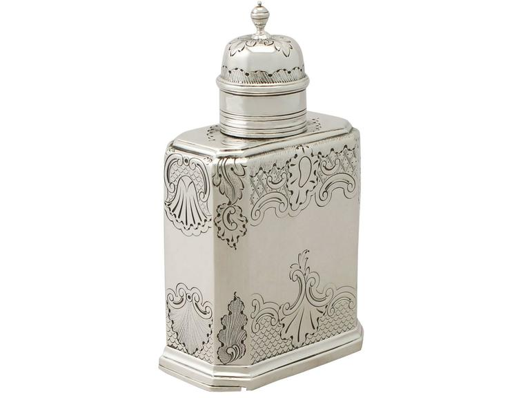 An exceptional, fine and impressive antique Victorian English Britannia standard silver tea caddy in the George I style; an addition to our silver teaware collection.  This exceptional antique Victorian Britannia standard* silver tea caddy has a
