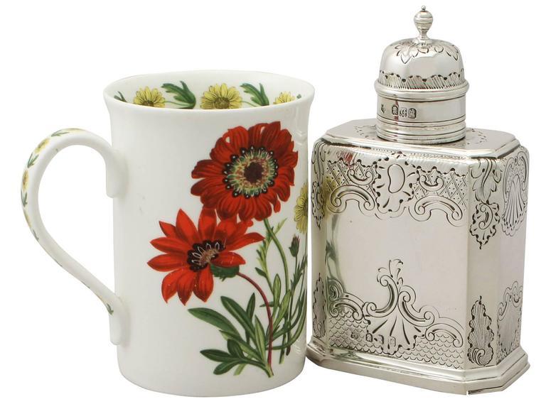 English Britannia Standard Silver Tea Caddy, George I Style, Antique Victorian For Sale