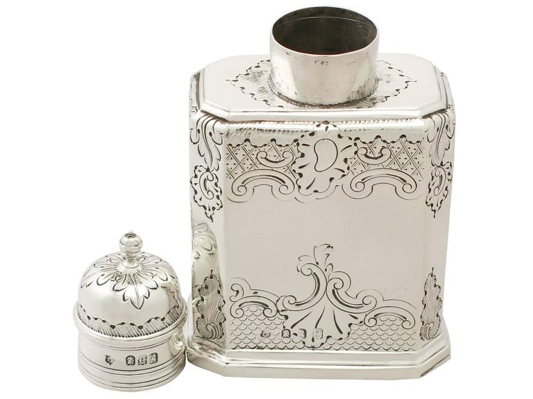 Britannia Standard Silver Tea Caddy, George I Style, Antique Victorian In Excellent Condition For Sale In Jesmond, Newcastle Upon Tyne