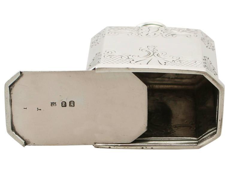 Britannia Standard Silver Tea Caddy, George I Style, Antique Victorian For Sale 4