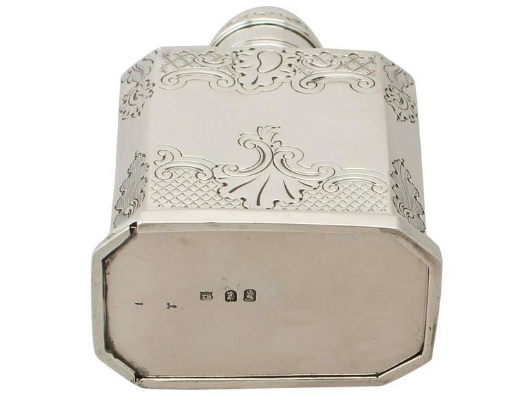 Britannia Standard Silver Tea Caddy, George I Style, Antique Victorian For Sale 5