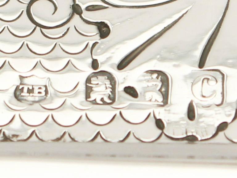 Britannia Standard Silver Tea Caddy, George I Style, Antique Victorian For Sale 2