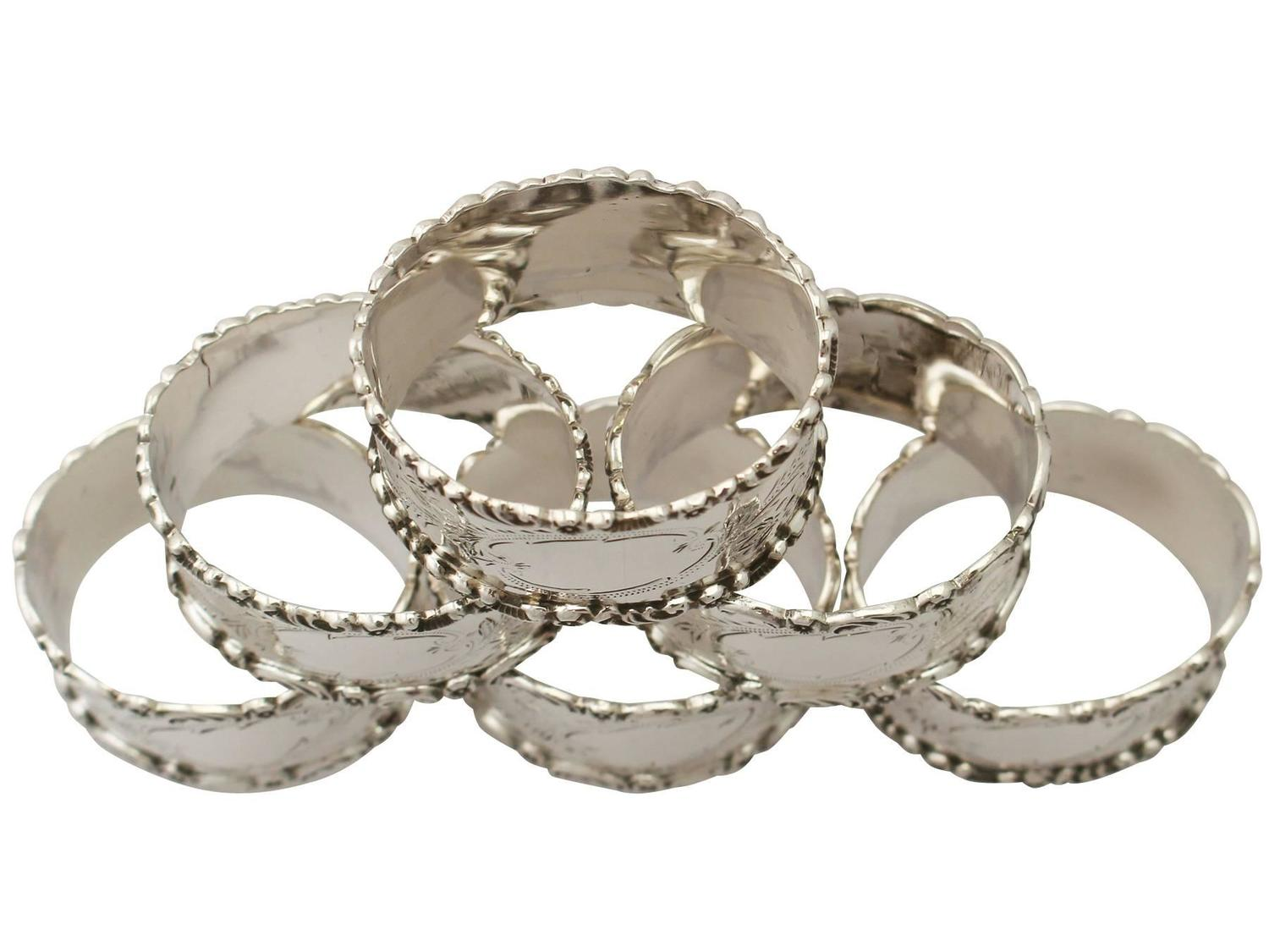 sterling silver napkin rings set of six antique edwardian