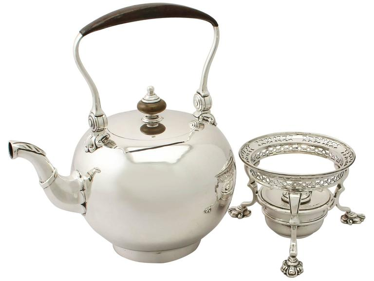 Mid-20th Century Sterling Silver Spirit Kettle, George I Style, Antique Edward VIII For Sale