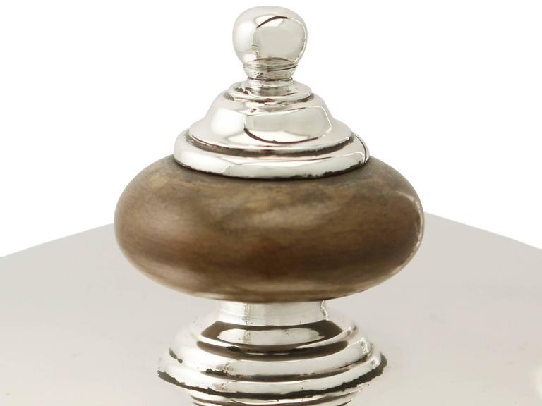Sterling Silver Spirit Kettle, George I Style, Antique Edward VIII For Sale 3