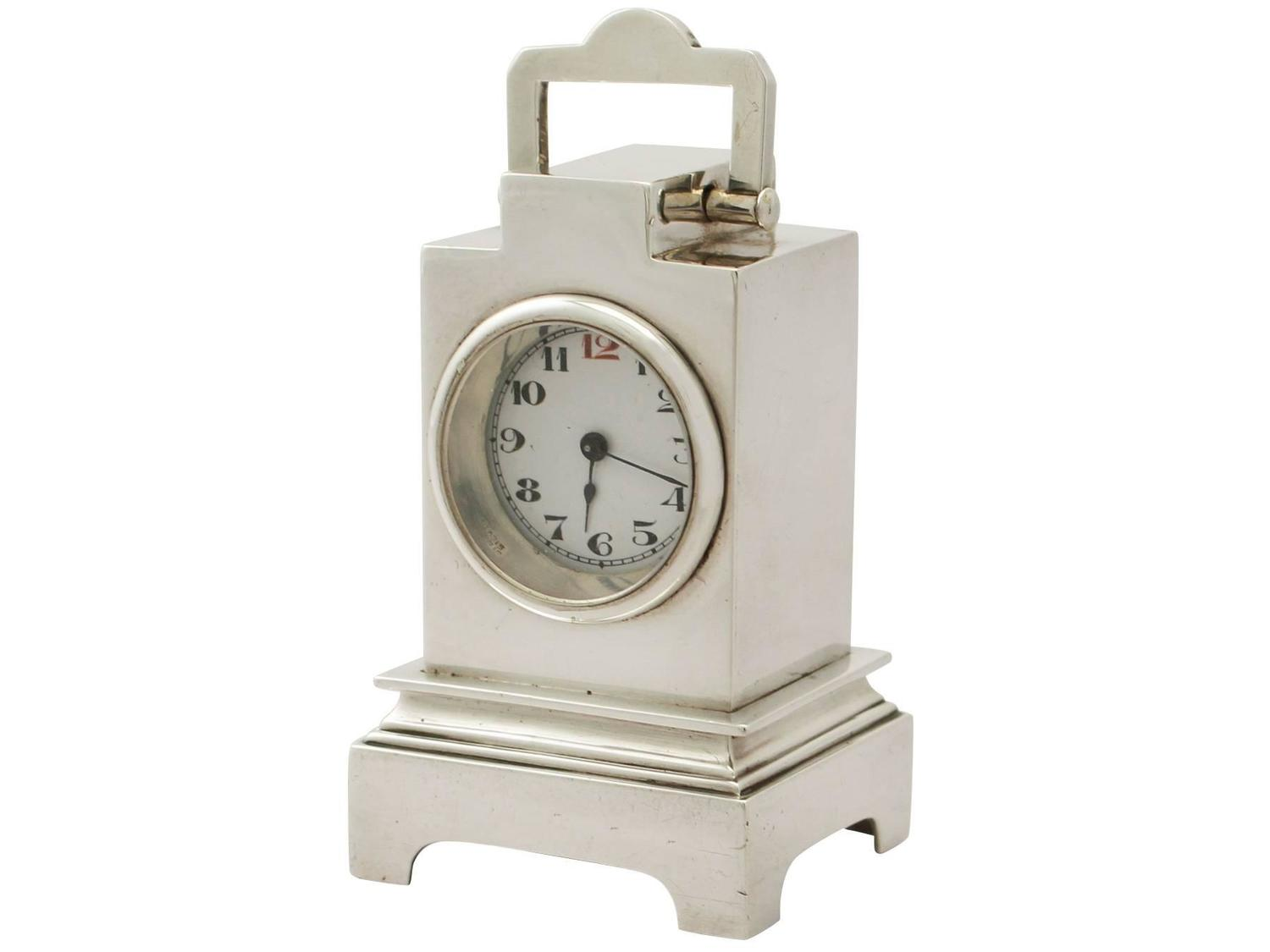Sterling silver boudoir alarm clock art deco style Art deco alarm clocks