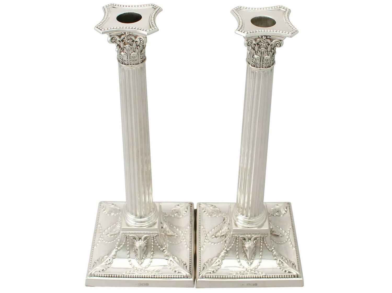 Sterling Silver Corinthian Column Candlesticks Antique