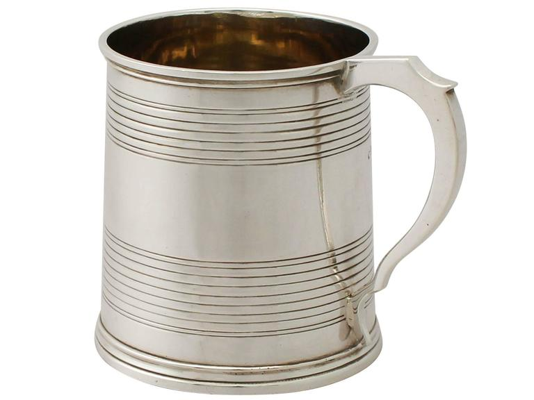 Mid-19th Century Sterling Silver Christening Mug, Antique Victorian For Sale