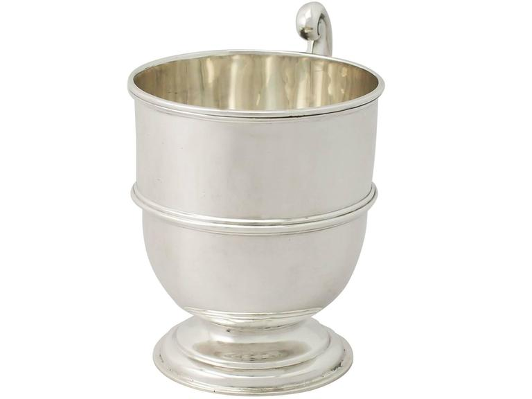 English Sterling Silver Christening Mug, Antique George V For Sale