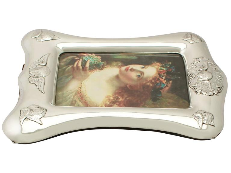 Late 19th Century Antique Victorian Sterling Silver Photograph Frame For Sale