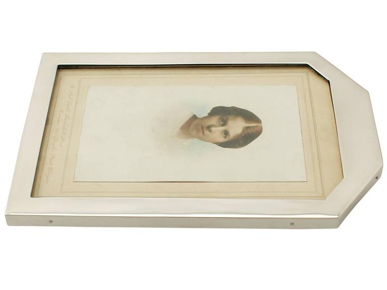 Sterling Silver Photograph Frame, Art Deco Style, Antique George V For Sale 1