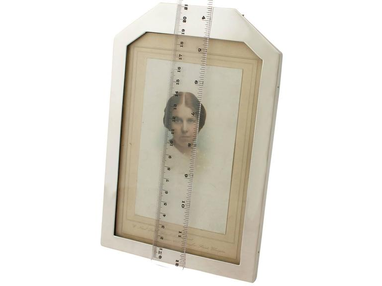 Sterling Silver Photograph Frame, Art Deco Style, Antique George V For Sale 3