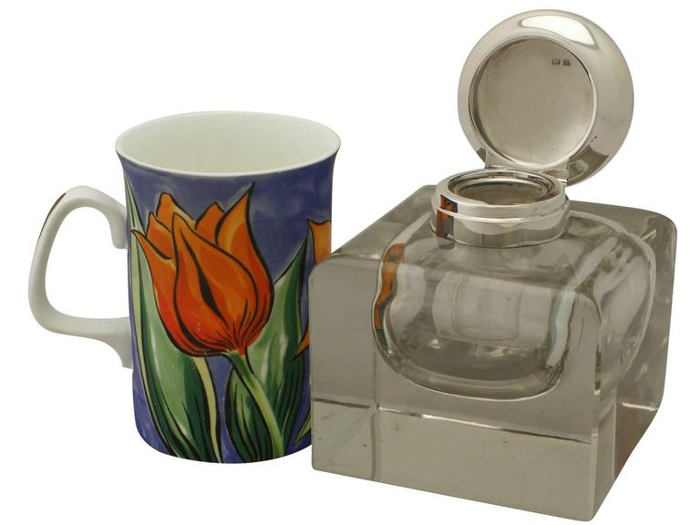 British Antique Cut Glass and Sterling Silver Desk Inkwell, George V For Sale