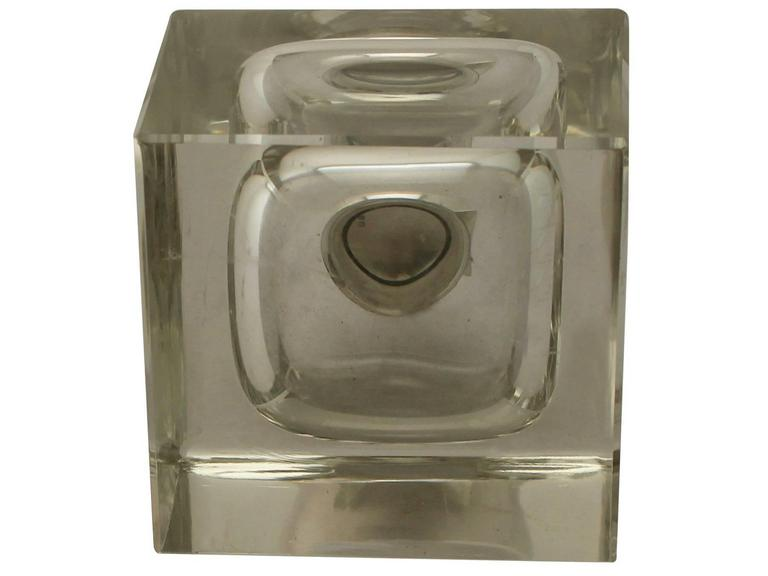 Antique Cut Glass and Sterling Silver Desk Inkwell, George V For Sale 1
