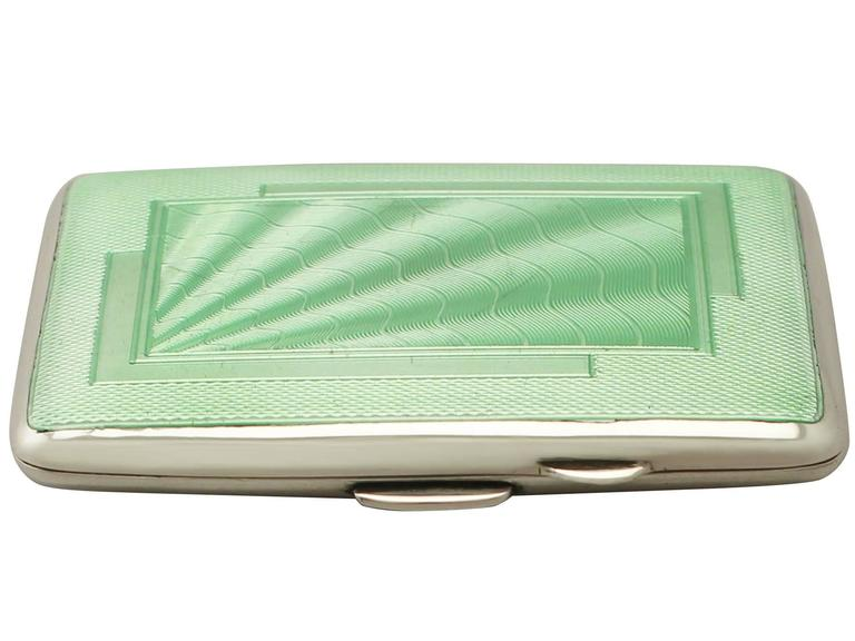 Antique Edward VIII Sterling Silver and Enamel Cigarette Case, Art Deco Style 3