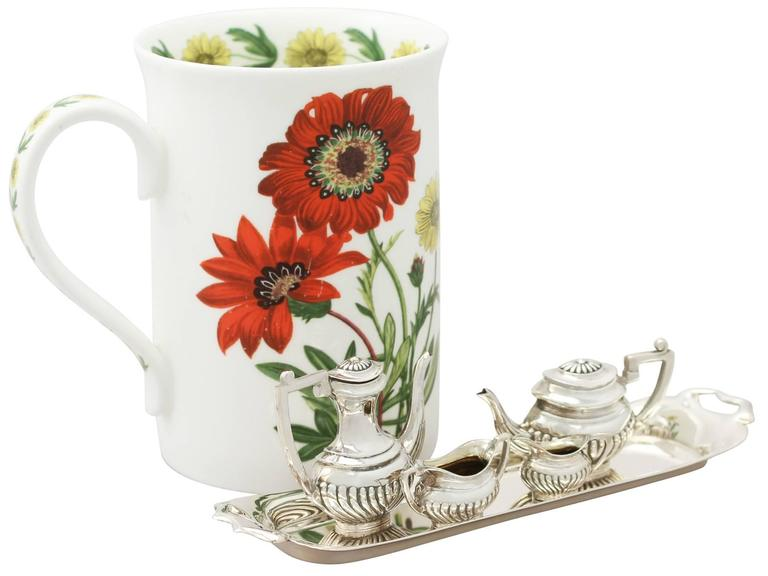 Great Britain (UK) 1970s Sterling Silver Boxed Miniature Tea and Coffee Service with Tray For Sale