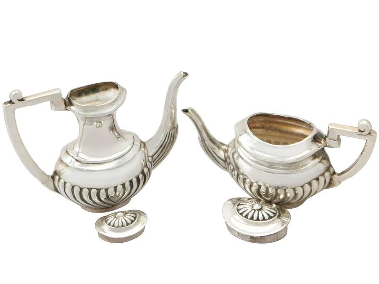 1970s Sterling Silver Boxed Miniature Tea and Coffee Service with Tray For Sale 1