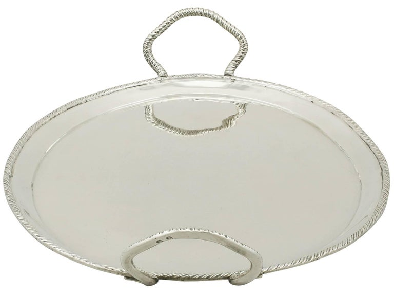 1800s Antique Italian Silver Tray In Excellent Condition For Sale In Jesmond, Newcastle Upon Tyne