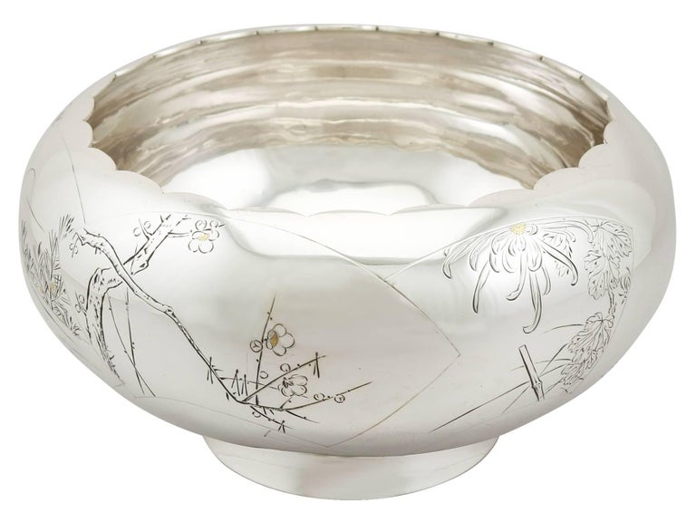 1940s, Antique Japanese Silver Presentation Bowl In Excellent Condition For Sale In Jesmond, Newcastle Upon Tyne