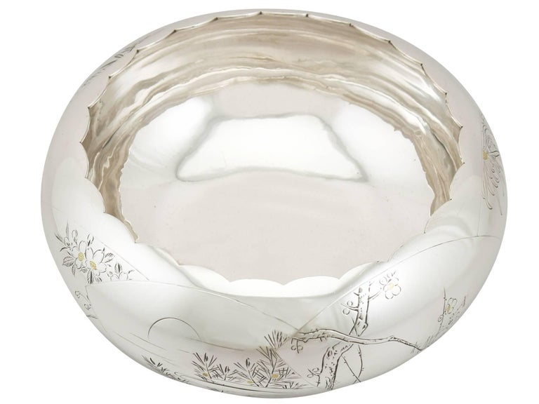 Mid-17th Century 1940s, Antique Japanese Silver Presentation Bowl For Sale