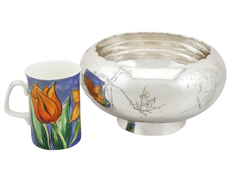 1940s, Antique Japanese Silver Presentation Bowl For Sale 1