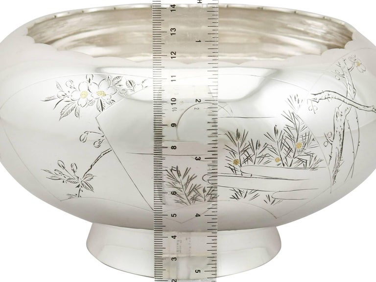 1940s, Antique Japanese Silver Presentation Bowl For Sale 5