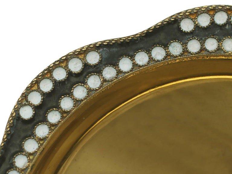 Russian Silver Gilt and Polychrome Cloisonné Enamel Caviar Dishes, circa 1970 For Sale 2