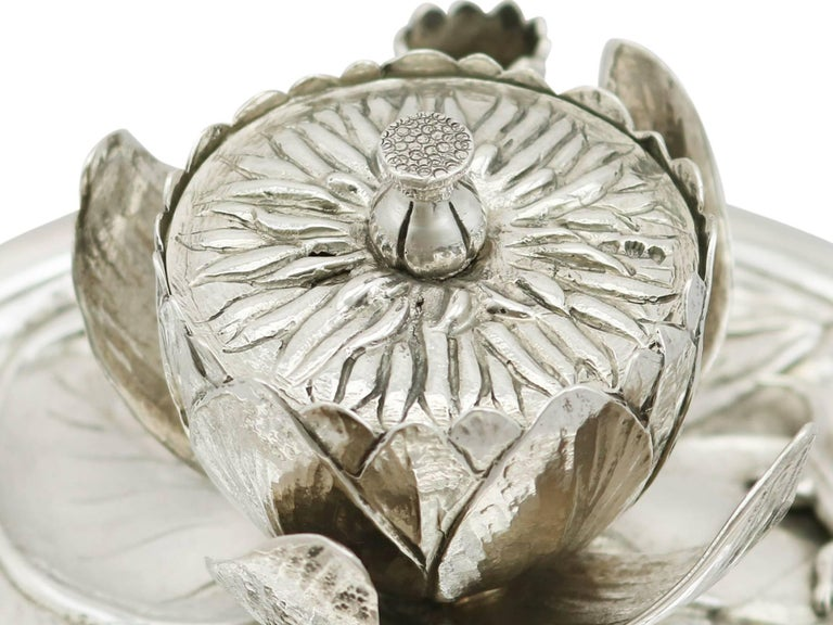 Antique Victorian 1890s Sterling Silver 'Water Lily' Inkwell For Sale 1
