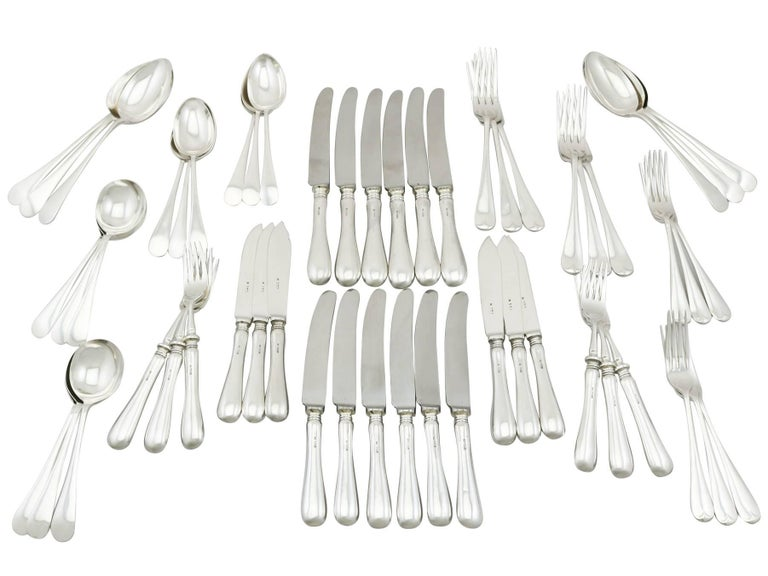 1973 Sterling Silver Canteen of Cutlery for Six Persons For Sale 5