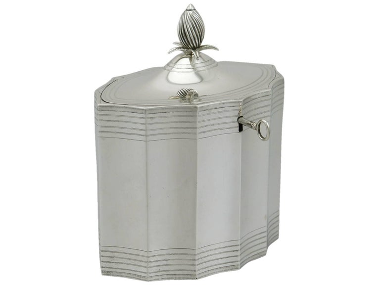 British Georgian 1790 Sterling Silver Locking Tea Caddy by Henry Chawner For Sale