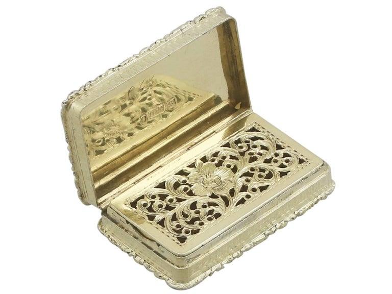 Mid-19th Century 1830s Sterling Silver Gilt Vinaigrette For Sale