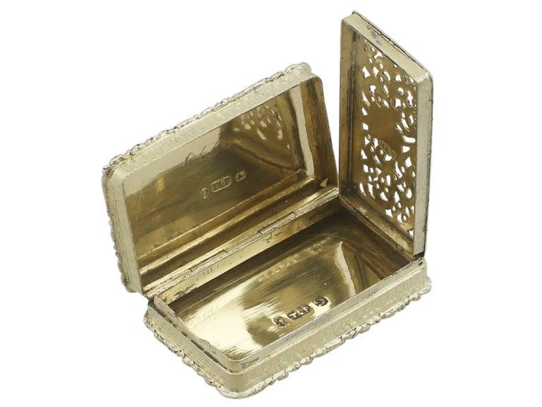 1830s Sterling Silver Gilt Vinaigrette For Sale 1
