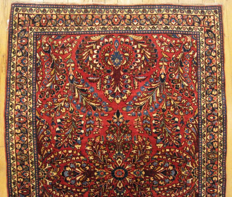 Antique Persian Sarouk Oriental Rug, In Small Size, With Jewel Tones, Circa  1920