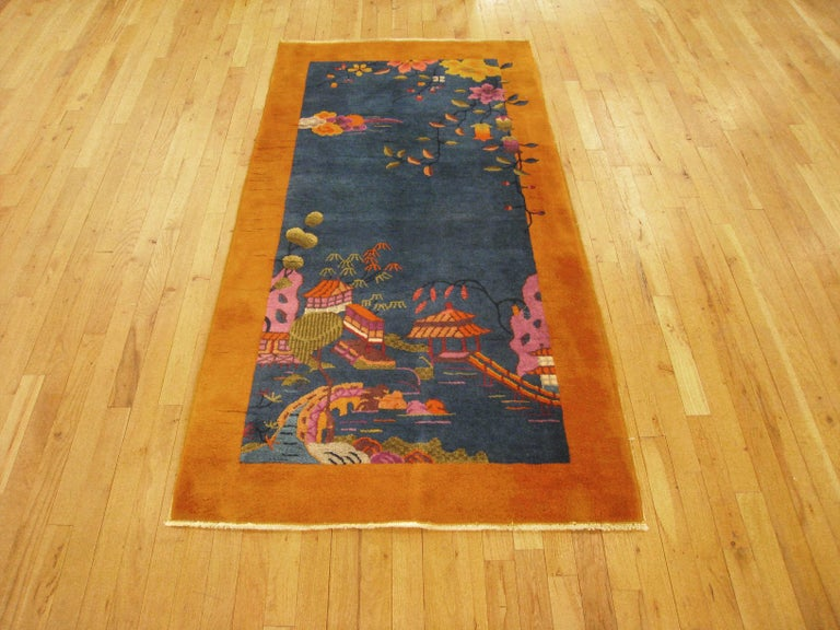 Antique Chinese Art Deco Oriental Rug In Small Size W