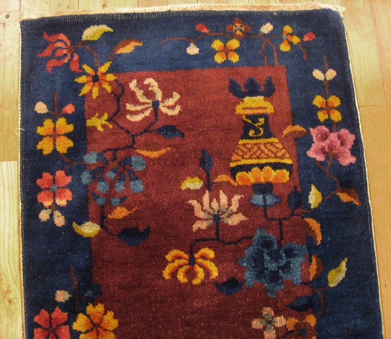 Antique Chinese Art Deco Oriental Rug In Small Size With