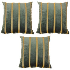Set of Three Vintage Art Deco Green Velvet Pillows with Gold Stripes