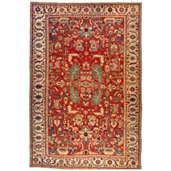 Antique Persian Serapi Carpet, in Large Size, with Allover Design & Ivory Border