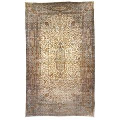 Antique Persian Kerman Carpet, Oversize, with Ivory Field and Soft Colors
