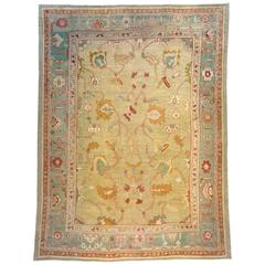 Antique Turkish Oushak Decorative Oriental Carpet, in Room Size with Soft Colors