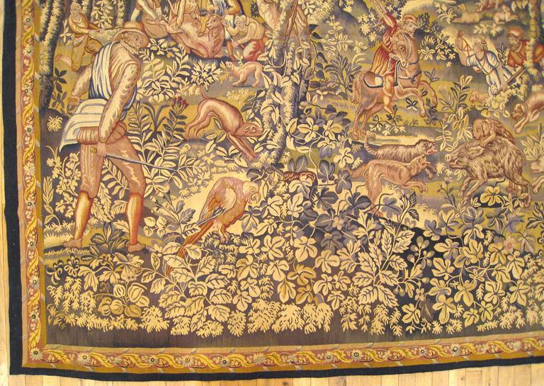 Antique 19th Century French Fox Hunt Tapestry From Ralph
