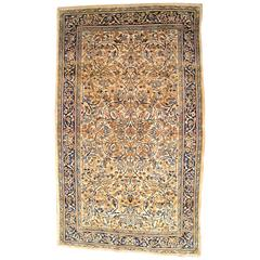 Antique Persian Kerman Carpet in Small Size with Ivory Field and Floral Design